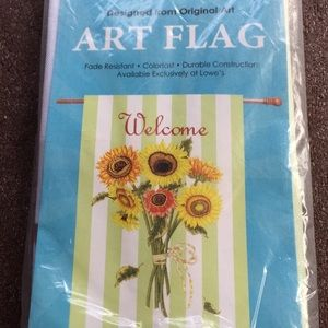 Welcome sunflowers -NEW -porch flag -in plastic-